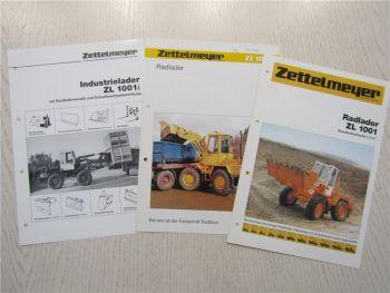 3 Prospekte Zettelmeyer ZL1001 Radlader ZL1001i Industrielader 1986 1990
