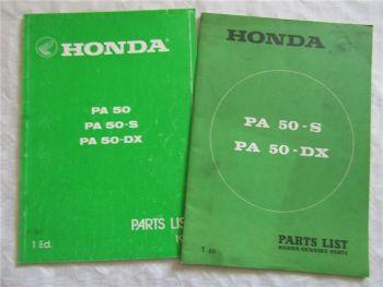 Honda PA50 S DX Spare Parts List Ersatzteilliste in englisch 1978 1981