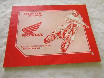 Honda CR125R Gelände Motorrad Motocross Instructieboekje Manual de Mantenimiento