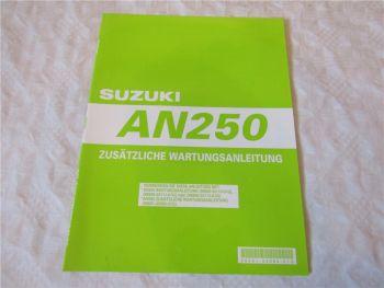 Suzuki AN250 Ergänzung Nachtrag zum Werkstatthandbuch 1999