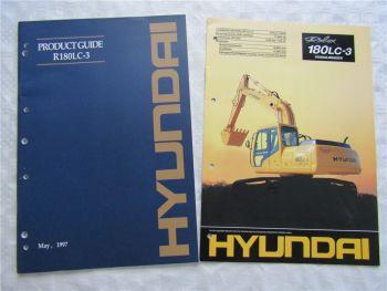 2 Broschüren Prospekte Hyundai Product Guide R180LC-3 1997