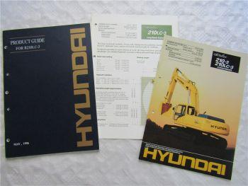 Product Guide + 2 Prospekte Hyundai R 210LC-3 210-3 von 1996