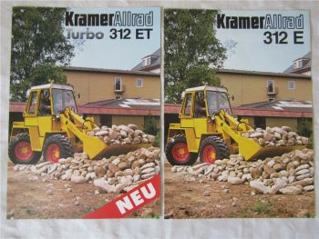 2 Prospekte Kramer Allrad Turbo 312ET und 312E von 1987/1988