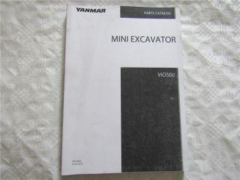 Yanmar ViO50U Mini Excavator Spare Parts List Catalog 05/2013