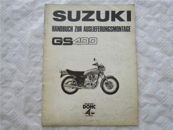 Suzuki GS400 Handbuch zur Auslieferungsmontage Werkstatthandbuch 10/1976