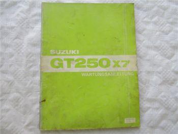 Suzuki GT250x7 Wartungsanleitung Reparaturanleitung Werkstatthandbuch von 12/78