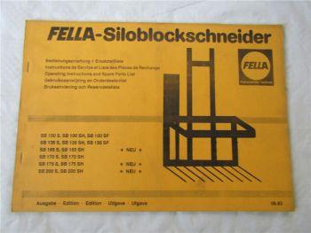 Fella SB 100 135 165 170 175 200 S SH SF Bedienungsanleitung Ersatzteilliste 83