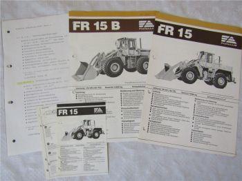 2 Prospekte Fiat-Allis Fiatallis FR15 FR15B Radlader mit Datenblättern 80er Jahr