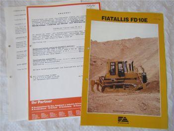 Prospekt Fiat Allis Fiatallis FD10E Raupe Dozer in englisch ca 90er Jahre