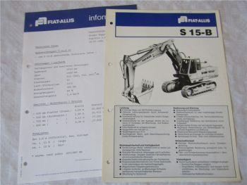 Prospekt Fiat Allis S15-B Bagger und Information mit technischen Daten 1980er