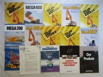 15 Prospekte Daewoo Baumaschinen Bagger Radlader von 1996 technische Daten