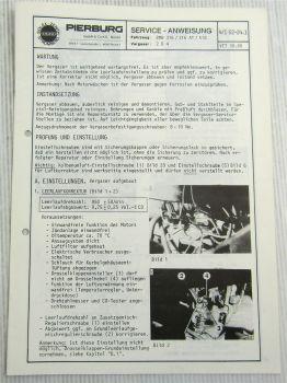 Pierburg 2B4 Vergaser Serviceanweisung für BMW 316 AT 518 von 8/1980