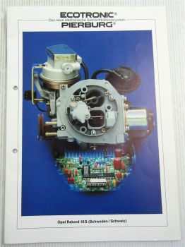Pierburg 2E-E 2EE Vergaser in Opel Rekord 18S Schulung Information Service 80er
