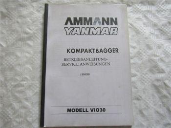 Yanmar ViO30 Bedienungsanleitung Betriebsanleitung Service Anweisungen 7/1997