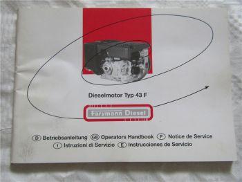 Farymann 43F Dieselmotor Instrucciones Bedienungsanleitung Handbook 2004