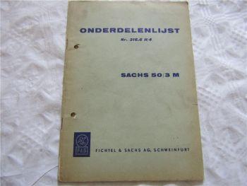 Sachs 50/3M Onderdelenlijst Catalogus Nr 316.6H/4 in niederländisch