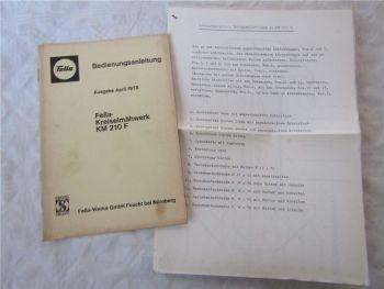 Fella KM210F Kreiselmäher Betriebsanleitung Bedienungsanleitung 4/1978 Montagean