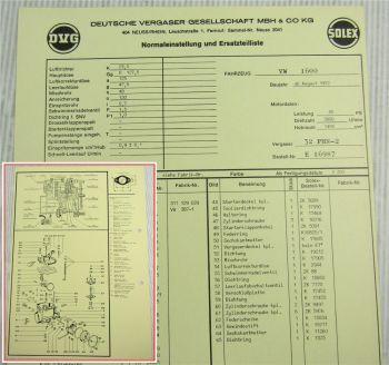 Solex 32 PNH-2 Vergaser Ersatzteilliste Normaleinstellung VW 1600 ab August 72