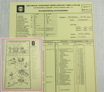 Solex 32/35 DIDTA Vergaser Ersatzteilliste Normaleinstellung VW Passat B1 85 PS