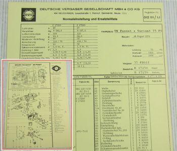 Solex 35 PDSIT Vergaser Ersatzteilliste Normaleinstellung VW Passat + Variant B1
