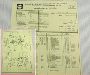 Solex 34 PDSIT-2/3 Vergaser Ersatzteilliste Normaleinstellung VW1700 LKW ab 8/72