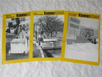 3 Prospekte Kramer Allrad Anbaugeräte Steinklammer Schneepflug Kehrmaschine