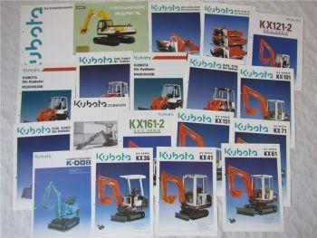 18 Prospekte Kubota Kompaktbagger und Radlader Serie KX und R +1 Kobelco