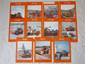 11 Prospekte Fiat -Hitachi Radlader und Dozer FD FR FL wohl aus den 90er Jahren