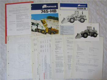 2 Prospekte Fiat Allis 745-HB Radlader 70er Jahre Preisangebot Foto Preisliste