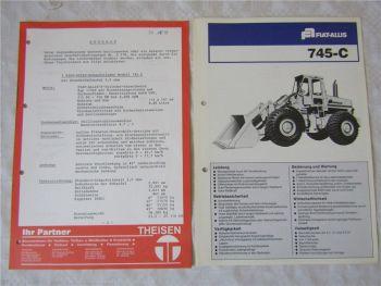 Prospekt Fiat Allis 745-C Radlader wohl 70er Jahre und Preisangebot 1979