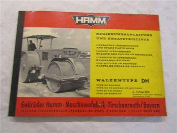 Hamm DH 8 10 12 14 Walze Ersatzteilliste Bedienungsanleitung 8/1974