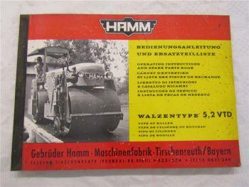Hamm 5,2 VTD Walze Ersatzteilliste Ersatzteilkatalog Bedienungsanleitung 60/70er