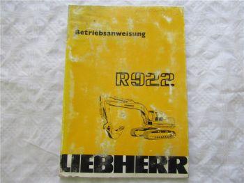 Liebherr R922 Bagger Betriebsanleitung Bedienungsanleitung von 9/1986