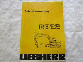 Liebherr R922 Bagger Betriebsanleitung Bedienungsanleitung Stand 9/1986