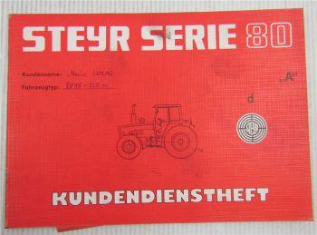 Steyr Traktor Typ 8075 Kundendienstheft Scheckheft Serie 80 Auslieferung 1984