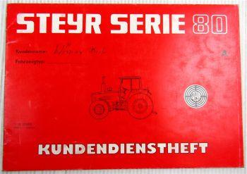Steyr Traktor Typ 8080A Kundendienstheft Scheckheft Serie 80 Auslieferung 1983