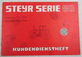 Steyr Traktor Typ 8070 Kundendienstheft Scheckheft Serie 80 Auslieferung 1985