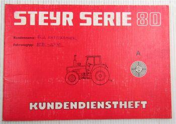 Steyr Traktor 8075 Kundendienstheft Scheckheft Serie 80 Auslieferung 1987