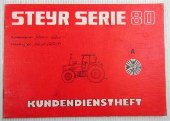 Steyr Traktor Typ 8090A Kundendienstheft Scheckheft  Serie 80 Auslieferung 1985