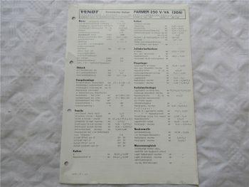 Fendt Farmer 250 V VA (205) Werkstatt Datenblatt 6/1988 Technische Daten