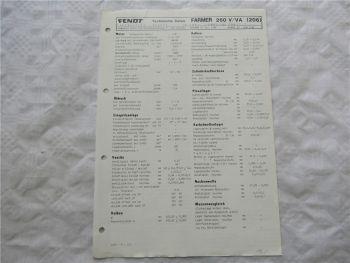 Fendt Farmer 260 V VA (206) Werkstatt Datenblatt 6/1988 Technische Daten