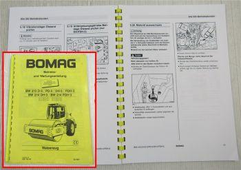 Bomag BW213 BW214 D-3 DH-3 PDH-3 Betriebsanleitung Bedienung Wartung 3/97