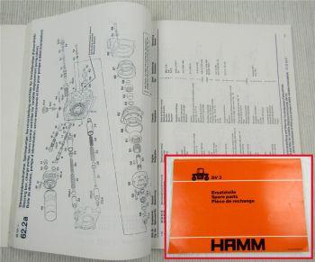 Hamm DV3 Walze Ersatzteilliste Spare Parts List Piece de rechange 4/1989