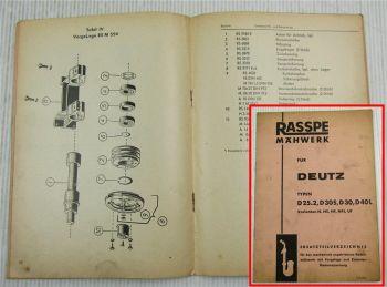 Rasspe Mähwerk Deutz D 25.2 D30S D30 D40L Ersatzteilliste Ersatzteilkatalog 1963
