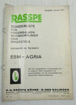 Rasspe Sonderliste für Fingerbalken Schwadräumer u Ersatzteile System ESM Agria