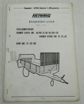 Heywang Farmer Super UNi 60 70V 75 80 90 100 120 Hydro Uni 4T 5T 6T Euro Uni 72