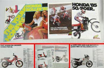 4 Prospekte Honda 50 80 ccm Mokick Roller MBX MTX PX PXR Camino 1983/85
