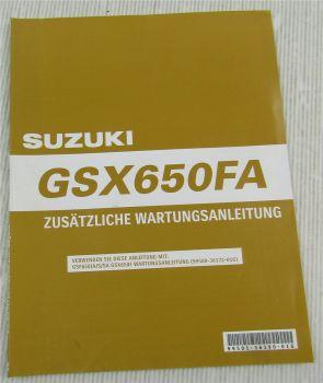 Suzuki GSX650FA K9 Ergänzung Werkstatthandbuch Wartung Reparaturanleitung 2009