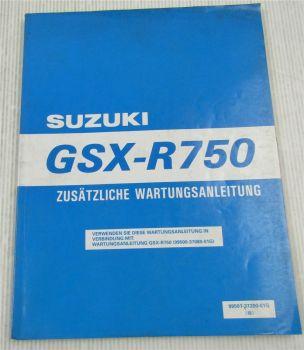 Suzuki GSX-R750W 98er Modell Nachtrag Werkstatthandbuch Wartung Reparaturanleitu