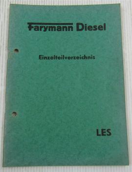Farymann LES Dieselmotor Ersatzteilliste ERsatzteilkatalog von 1958